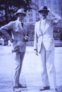Cecil Pinsent & Geoffrey Scott in Battery Park, New York. 1929