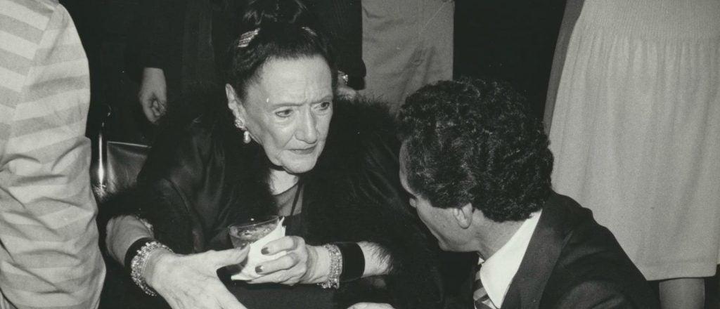 Margaret Rockefeller Strong De Lorrrain with speaking with her husband Raymundo.