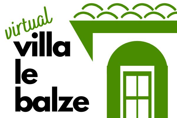 Virtual Villa Le Balze logo: showing a drawing of one third of the Villa seen from the Lemon garden and the text virtual villa le balze.