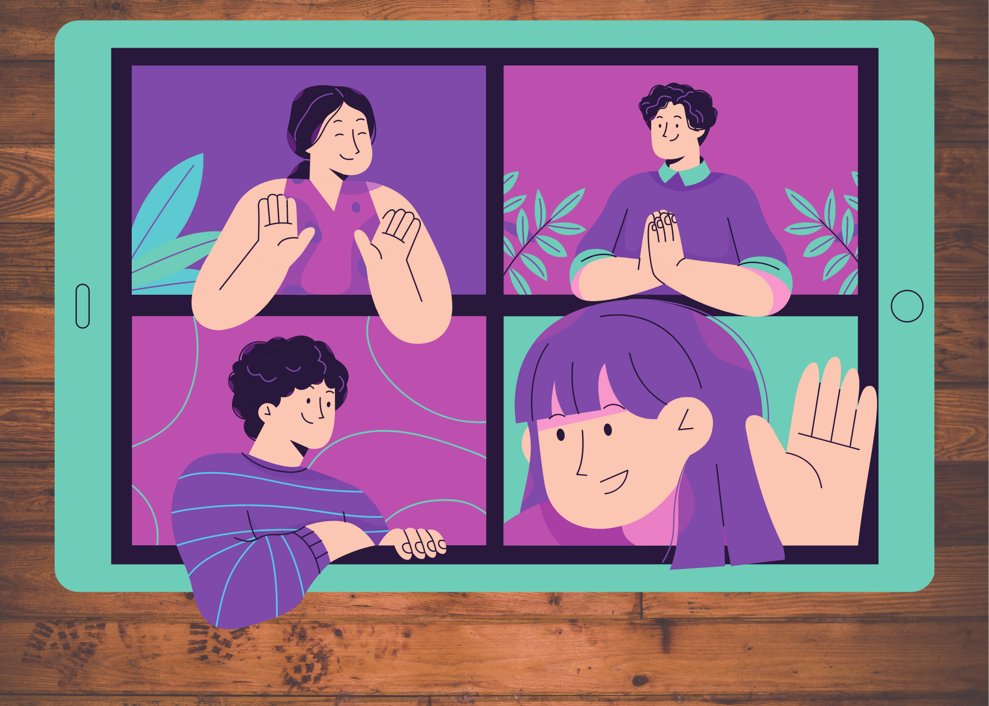Illustration of four people participating in a virtual call on a tablet.